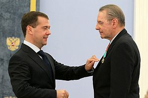 Order of Friendship - International Olympic Committee president Jacques Rogge being awarded the Order of Friendship by Russian President Dmitry Medvedev on 22 November 2011 at the Moscow Kremlin.  (Photo www.kremlin.ru)
