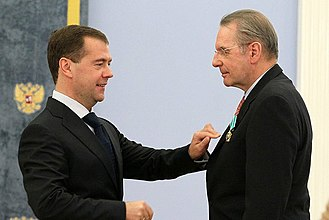 Jacques Rogge - Decorated by Medvedev into the Order of Friendship