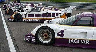 Jaguar XJR sportscars - Several XJRs seen in their traditional European Silk Cut paint scheme.