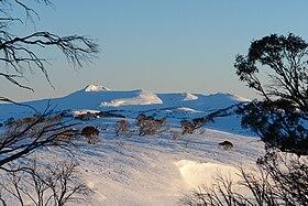 Vue du mont Jagungal à proximité du refuge Mawson à l'aube.