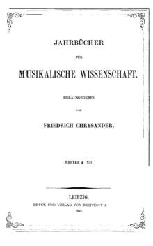 Jahrbücher für musikalische Wissenschaft, Titelblatt (Quelle: Wikimedia)