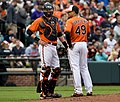 Jair Jurrjens and Matt Wieters on May 18, 2013.jpg