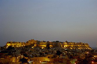 Jaisalmer Fort - A view of the fortress above the city, in the evening