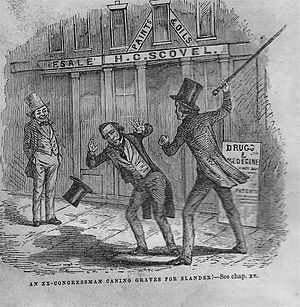 James Robinson Graves - Engraving illustrating the caning of J.R. Graves by an ex-congressman in front of Scovel's drug store in Nashville for alleged slander.