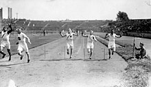 James Ball of Canada (left) winning a silver medal in the mens 400 meters race at the VIIIth Summer Olympic Games.jpg