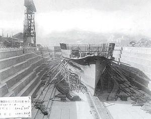 Japanese aircraft carrier Ryūjō - Ryūjō under construction at Yokosuka, 20 October 1931