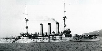 Japanese cruiser Iwate - Iwate at anchor, Plymouth, c. 1901