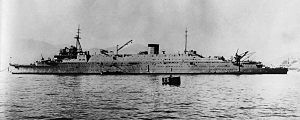 Japanese aircraft carrier Ryūhō - Japanese submarine depot ship Taigei off Kure in 1935.