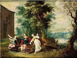 Aglaurus, daughter of Cecrops - Aglaurus and her two sisters finding Erichthonius.  Painting by Jasper van der Lanen, c. 1620.
