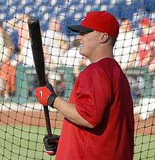 Jay Bruce taking batting practice.