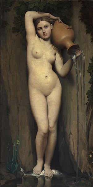 La Source, by Jean Auguste Dominique Ingres. Oil painting on canvas by French neoclassical painter Jean Auguste Dominique Ingres. 'He continued to rework and refine his classic themes. In 1856 Ingres completed The Source (The Spring), a painting begun in 1820 and closely related to his Venus Anadyoméne.'
