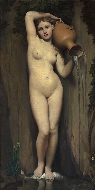 La danse, Bacchante - Jean Auguste Dominique Ingres, 1820-56, La Source (The Spring), oil on canvas, 163 × 80 cm (64.2 × 31.5 in), Musée d'Orsay, Paris