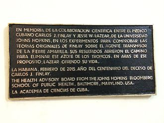 Peter Agre - Plaque commemorating the collaboration of Cuban scientist Carlos Finlay and Johns Hopkins scientist Jesse Lazear in the Cuban Academy of Sciences by the Johns Hopkins Bloomberg School of Public Health Advisory Board visit to Havana in February 2015