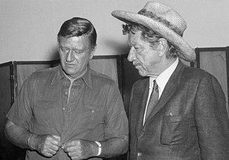 Richard Boone - John Wayne and Boone at premier of Big Jake, 1971
