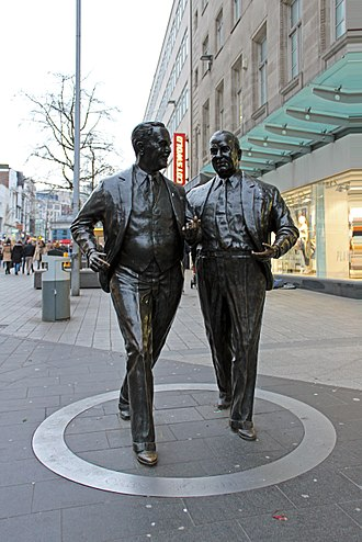 John Moores (British businessman) - Statues of John and Cecil Moores by Tom Murphy, Church Street, Liverpool