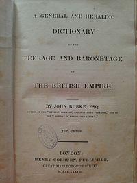 Burke's Peerage cover