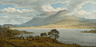 Hobart - John Glover's 1834 painting Mount Wellington and Hobart Town from Kangaroo Point depicts Aboriginal Tasmanians dancing in the foreground.