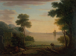 Classical Landscape with Figures and Animals: Sunset
