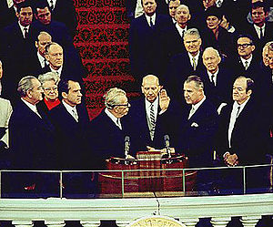 First inauguration of Richard Nixon - Senate Minority Leader Dirksen  administering the oath of office to Agnew (left to right) : outgoing President Lyndon Johnson  (the 37th Vice President), incoming President Richard Nixon (36th),  Senate Minority Leader Everett Dirksen, Spiro Agnew sworn in as Vice President (39th),  and the outgoing  Vice President Hubert Humphrey (38th),  at inauguration, January 20, 1969.