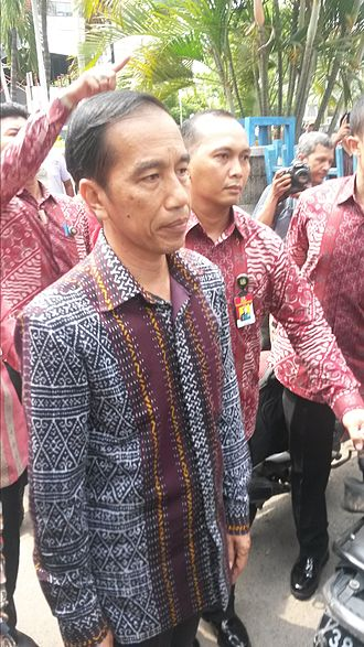 Batik - The Indonesian president Joko Widodo and Paspampres agents wearing batik shirts