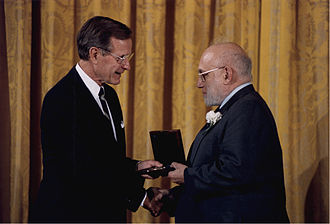 Joshua Lederberg - Lederberg (right) receiving The National Medal of Science from George H. W. Bush.