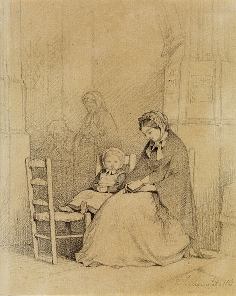 File:Jules Marc Chamerlat - Mother and Child in Church - Walters 371350.jpg