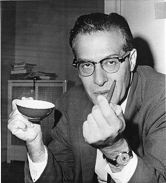 "Julian Schwinger - Julian Schwinger, winner of the 1965 Nobel Prize in Physics. Original caption: ""His laboratory is his ballpoint pen."""