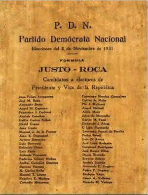 Agustín Pedro Justo - 1931 ballot, Justo-Roca