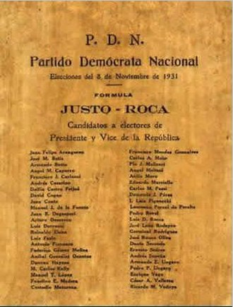 1931 Argentine general election - A National Democratic Party ballot.