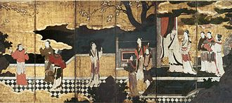 Emperor Xuanzong of Tang - Xuanzong with Consort Yang on a terrace with their attendants, by Japanese artist Kanō Eitoku (1543–1590)