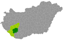 Kaposvár District within Hungary and Somogy County.