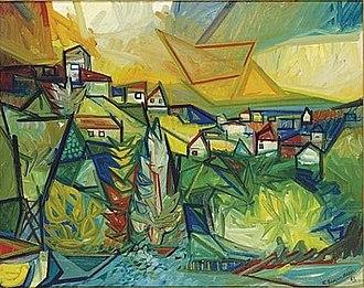 "Karl Baumann - Photograph of ""Village Scene"" signed and dated 'K. Baumann 62' (lower right)"