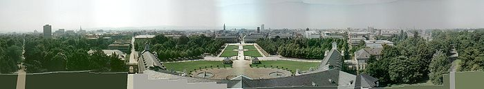 Panorama of Karlsruhe from the tower of the castle, looking south. The University is at left, the Marketplace at center, Federal Constitutional Court at right. Note wings of castle aligning with streets, all radiating out from center of town (i.e. the castle tower).