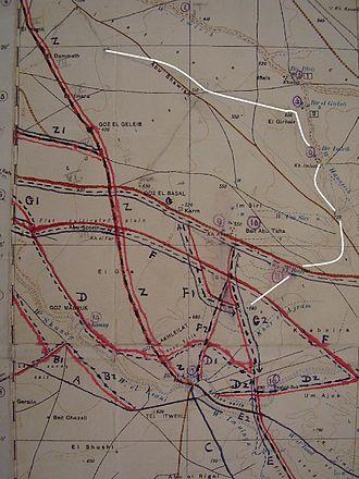 Battle of Buqqar Ridge - Karm and el Buqqar defensive line (in white)