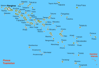 Rangiroa - Location of Rangiroa in French Polynesia