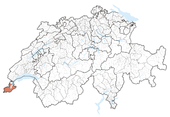 Map of Switzerland highlighting the Canton of Geneva