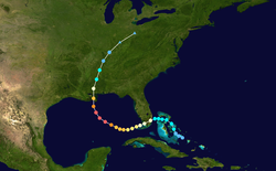 Parcours de l'ouragan Katrina.