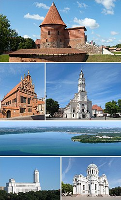 Top: Kaunas Castle Middle left: Hoose o Perkūnas, right: Kaunas ceety haw The 3rd row: Kaunas lagoon Bottom left: Vytautas the Great War Museum, right: Kirk o Saunt Michael the Archangel.