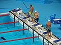 Kazan 2015 - Grechin, Hovorov and Fratus 50m semi.JPG