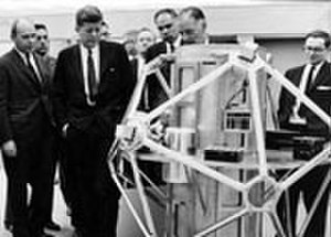 Sandia Base - President Kennedy inspects a satellite that detects atmospheric atomic tests during his December 7, 1962, visit to Sandia Base.