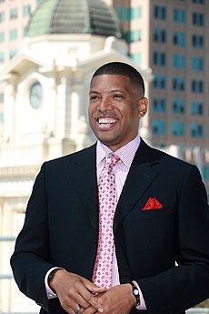 Kevin Johnson, Mayor of Sacramento, CA, skyline of Sacramento.jpg