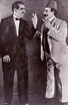 Khabir Galimov as Asgar and Gabdrahman Khabibulin as Soltan bey (Ufa, 1939).jpg