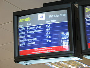 Arrival screen, Airport Lounge, Kirkwall, Orkn...