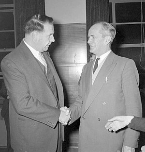 Wellington City mayoral election, 1956 - Toop (right) congratulating Kitts (left) on his victory.