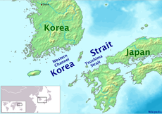 Map showing the Korea Strait.