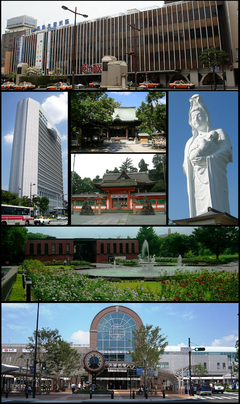 Frae the upper left: Nishitetsu Kurume Station, ceety haw, Suitengu shrine, Kora-taisha shrine, Narita-san templeIshibashi bunka centre, JR Kurume Station