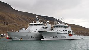 Norwegian Coast Guard - NoCGV Svalbard (W303) and Barentshav (W340) in Longyearbyen