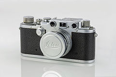 LEI0320 189 Leica IIIc chrome - Sn. 384761 1941-M39 Front view - ext. 3mm collapsed Lens-Tonwertalternative.jpg