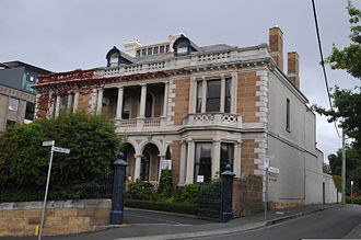 "Battery Point, Tasmania - The hotel ""Lenna of Hobart"" on McGregor Street."
