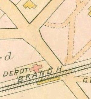 Elmhurst (LIRR station) - 1891 map of Elmhurst station, when it was still called Newtown station